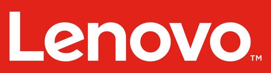 Bílé logo čínské firmy Lenovo na červeném pozadí - vložené v článku
