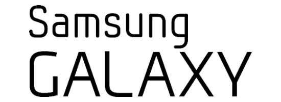 Černé logo jihokorejské společnosti Samsung Galaxy na bílém pozadí - vložené v článku