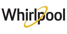 Černé logo s žlutým kroužkem na bílém pozadí Americké firmy Whirlpool vyrábějící pračky a sušičky
