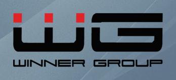 Černo-červené logo české telekomunikační společnosti Winner Group (WG) na šedém pozadí - vložené v článku