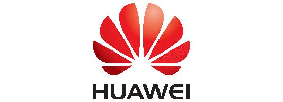 Červeno-černé logo čínské firmy Huawei na bílém pozadí - vložené v článku