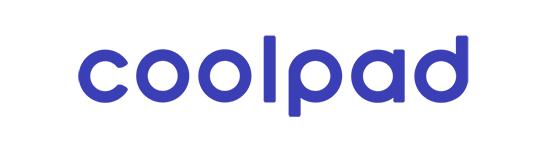 Modré logo čínské společnosti Coolpad na bílém pozadí - vložené v článku